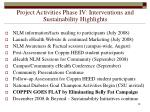 project activities phase iv interventions and sustainability highlights