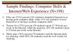 sample findings computer skills internet web experience n 198