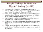 sample findings diabetes and physical activity n 19820