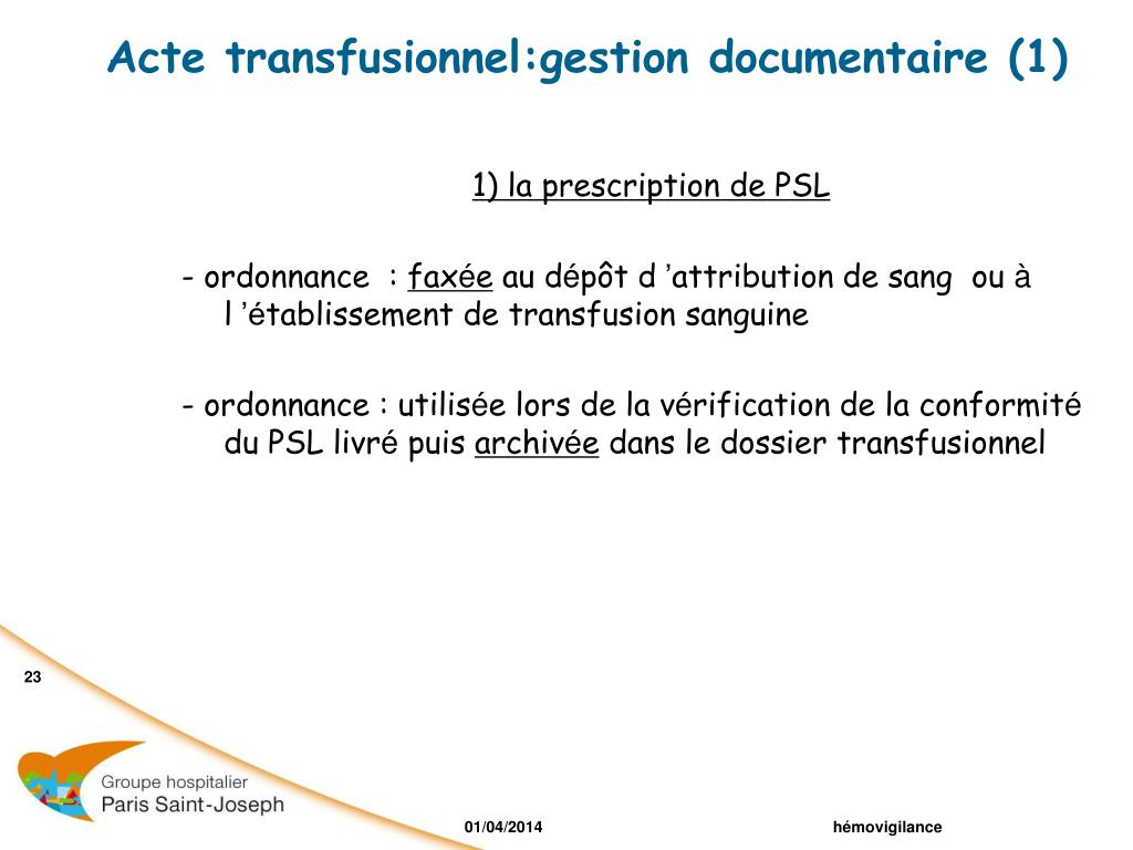 Acte transfusionnel:gestion documentaire (1)