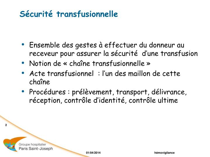 S curit transfusionnelle