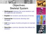 objectives skeletal system