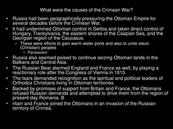 causes of the crimean war These haunting crimean war photos represent some of the first battlefield photos ever taken and reveal the history of this overlooked conflict between the russian empire and the ottoman empire, france, britain and sardinia that shaped europe for decades.
