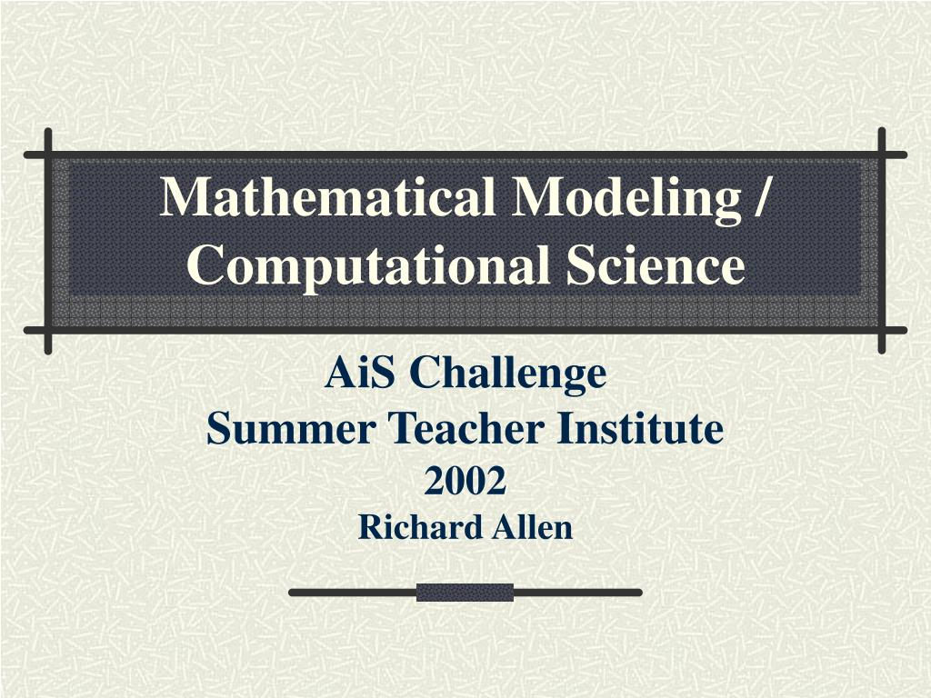 mathematical modeling computational science l.