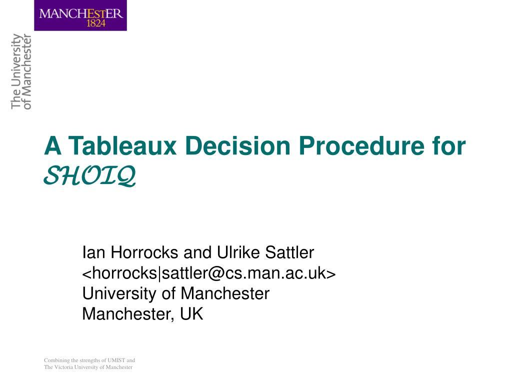 a tableaux decision procedure for shoiq l.