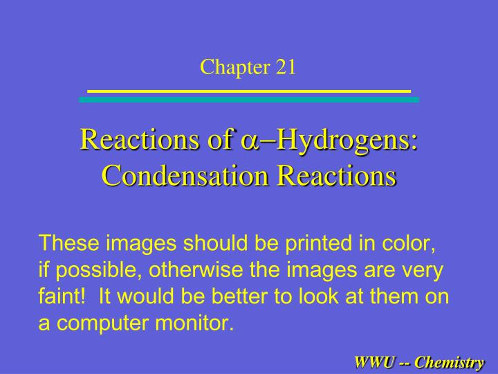 reactions of a hydrogens condensation reactions n.