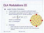 ola modulations iii