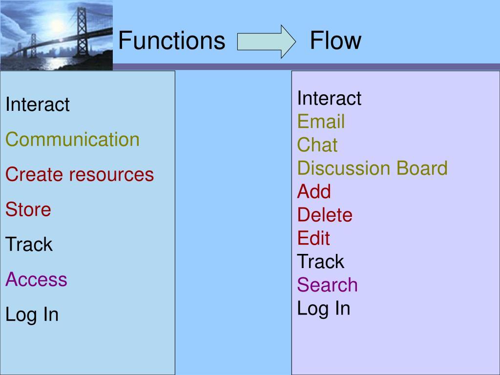 Functions            Flow