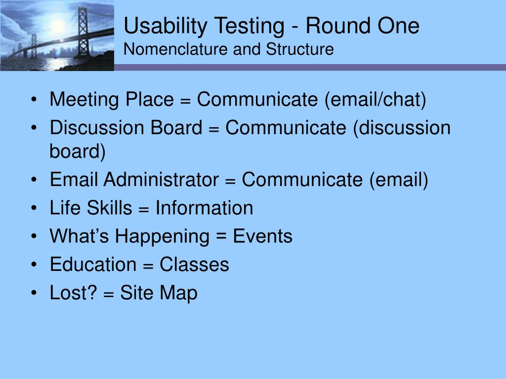 Usability Testing - Round One