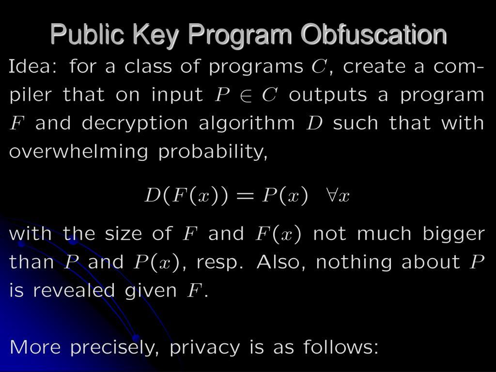 Public Key Program Obfuscation
