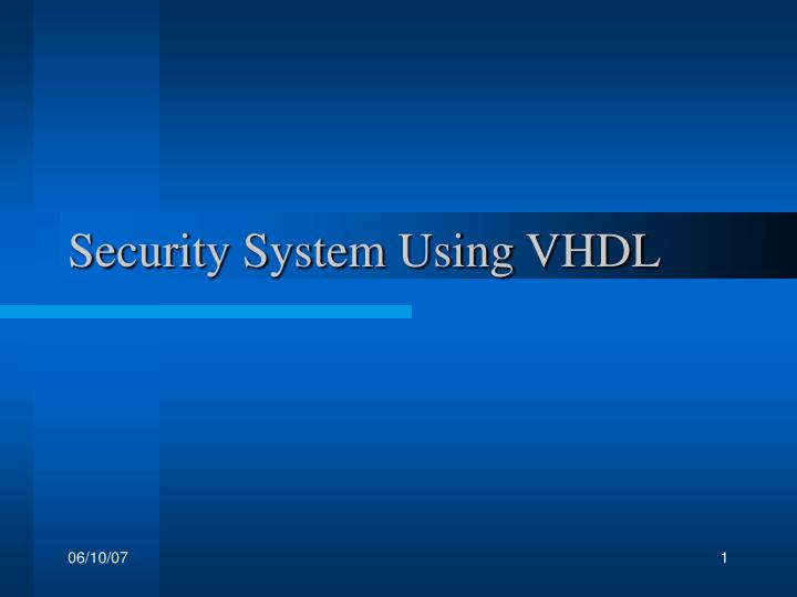 security system using vhdl n.