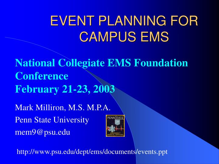 event planning for campus ems n.