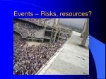 events risks resources