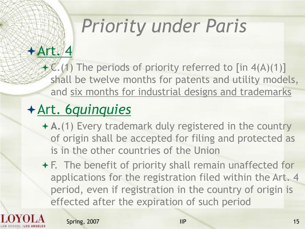 Priority under Paris