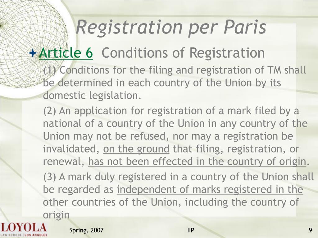 Registration per Paris