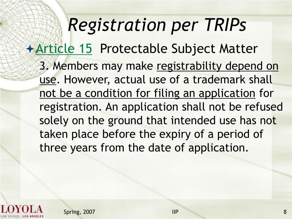 Registration per TRIPs