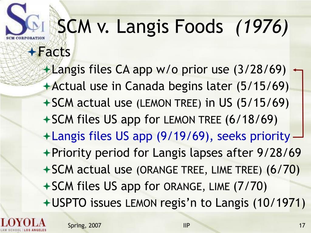 SCM v. Langis Foods