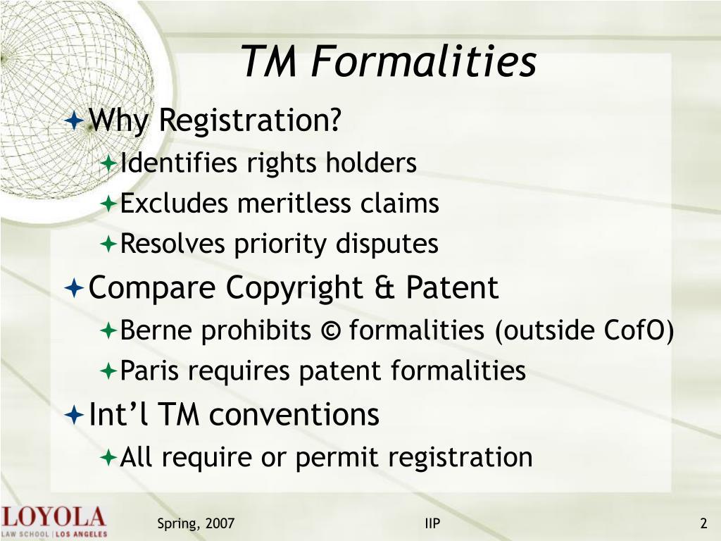 TM Formalities