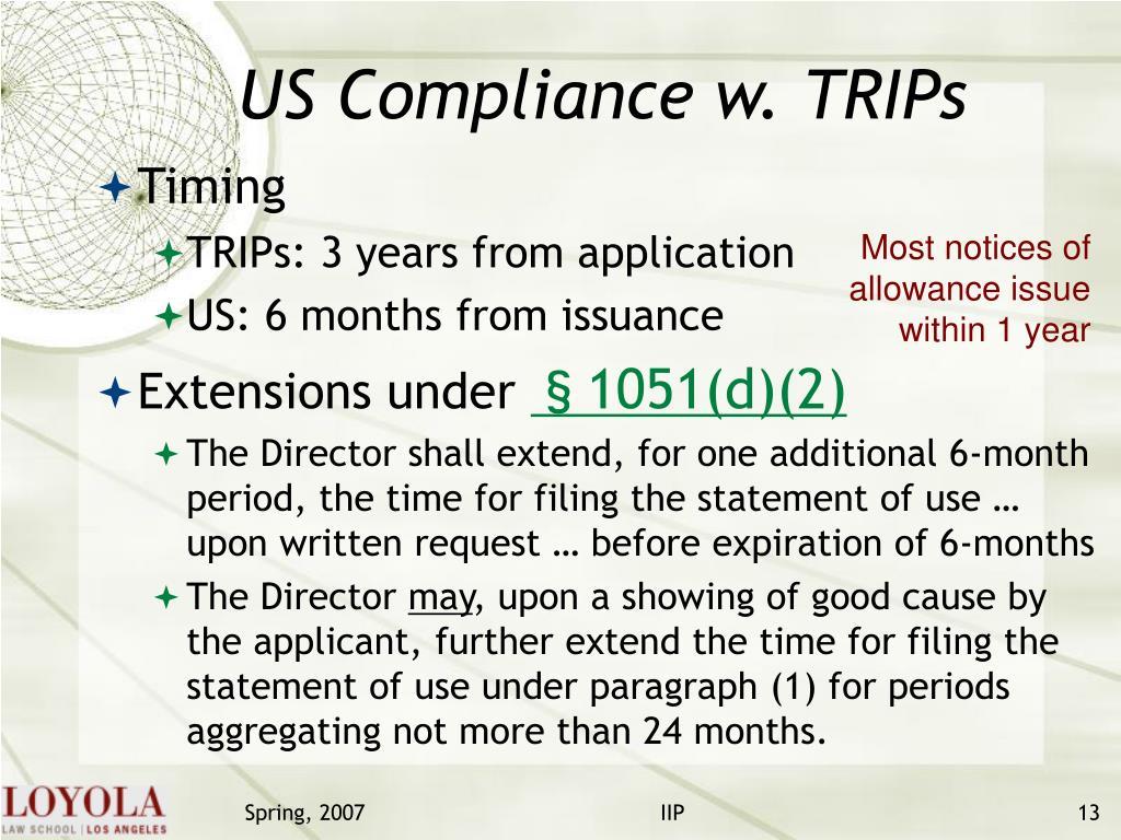 US Compliance w. TRIPs