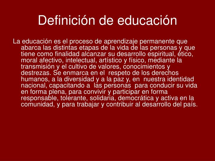Definici n de educaci n