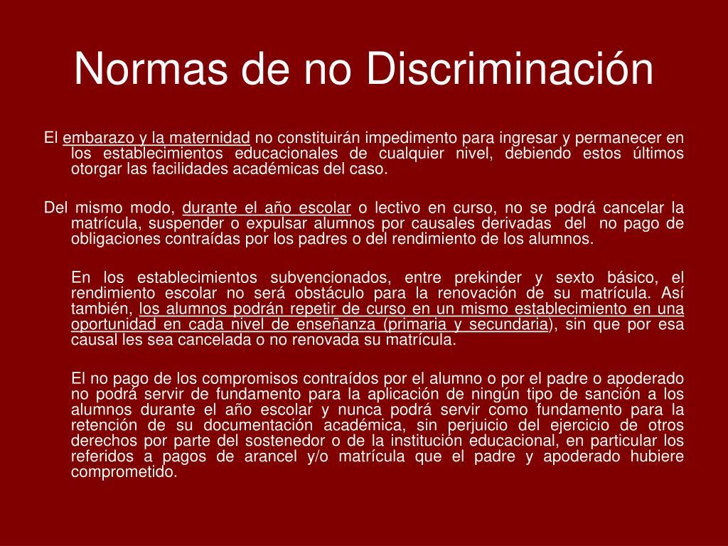 Normas de no Discriminación