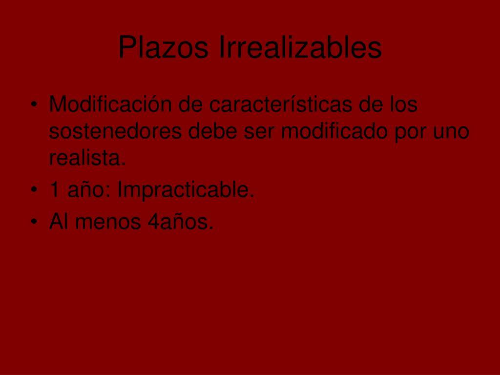 Plazos Irrealizables