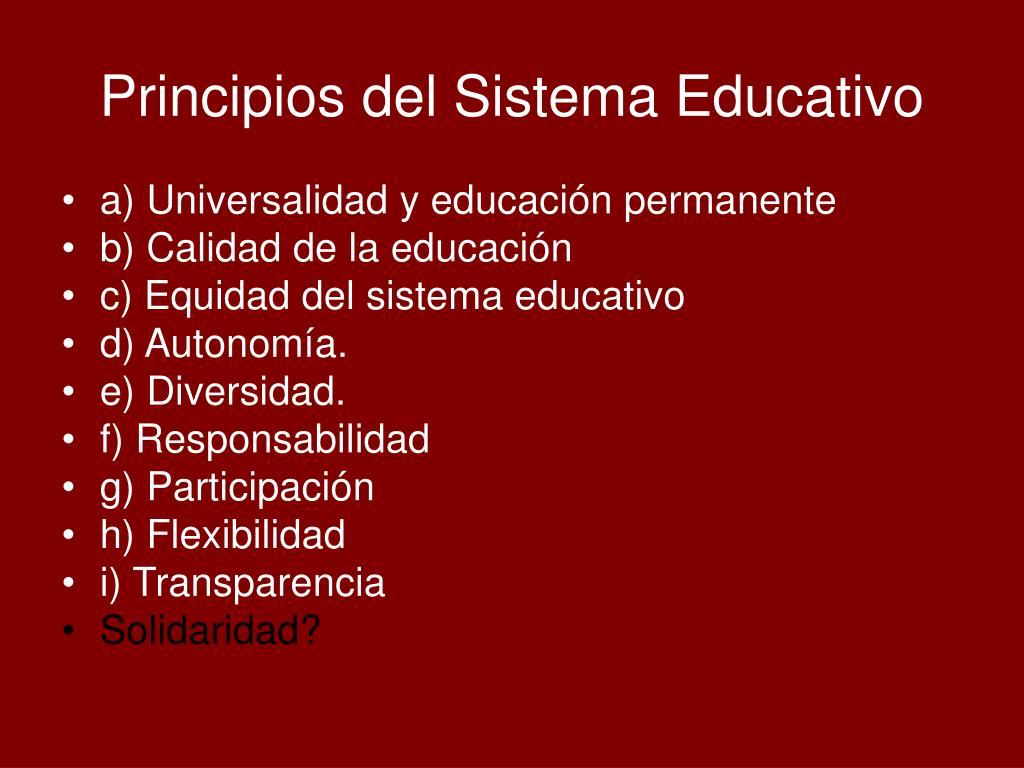 Principios del Sistema Educativo