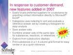 in response to customer demand new features added in 2007
