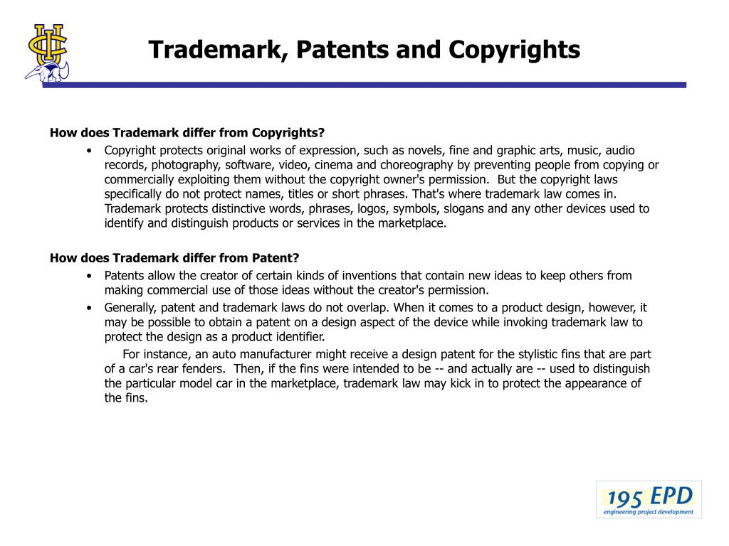 Trademark, Patents and Copyrights