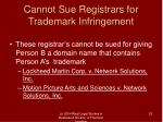 cannot sue registrars for trademark infringement