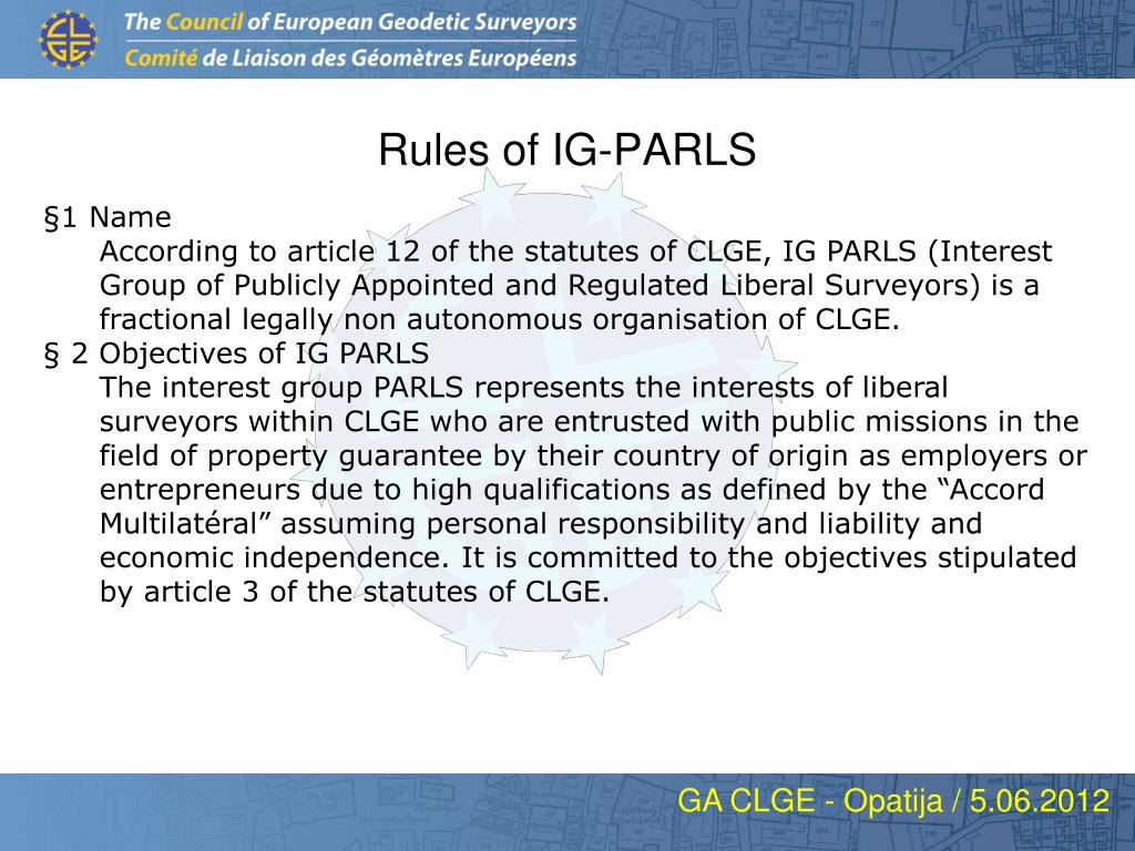 rules of ig parls l.