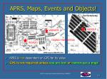 aprs maps events and objects