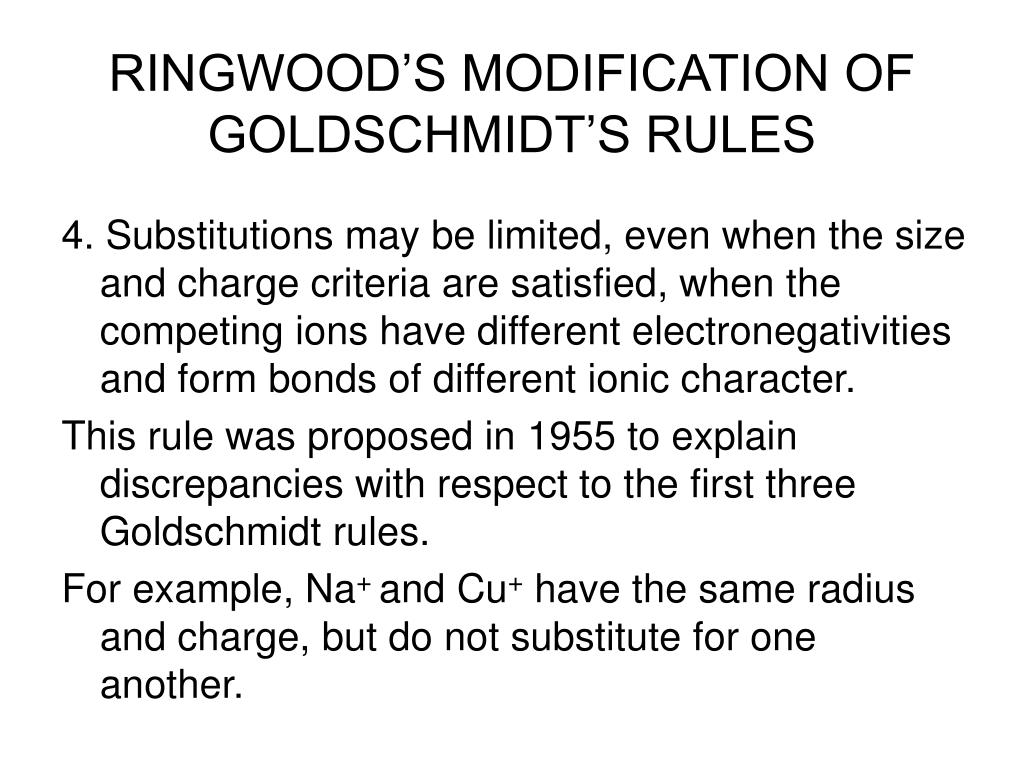 RINGWOOD'S MODIFICATION OF