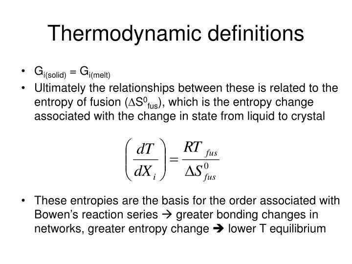 Thermodynamic definitions