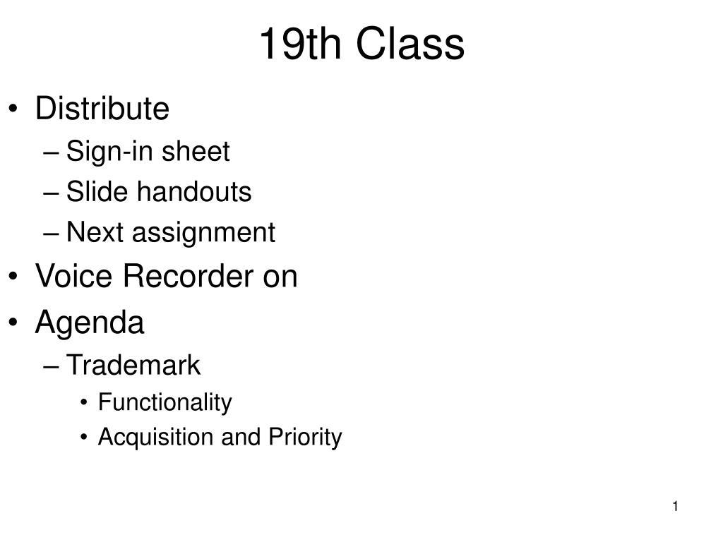 19th class l.