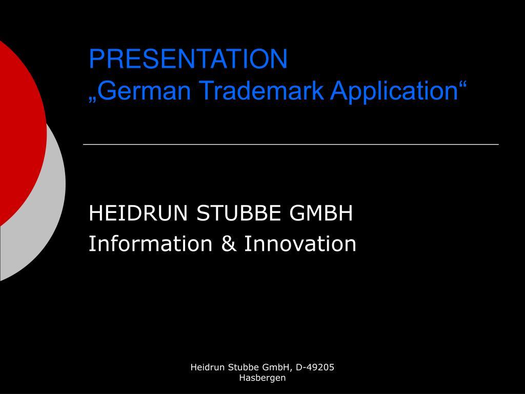 presentation german trademark application l.