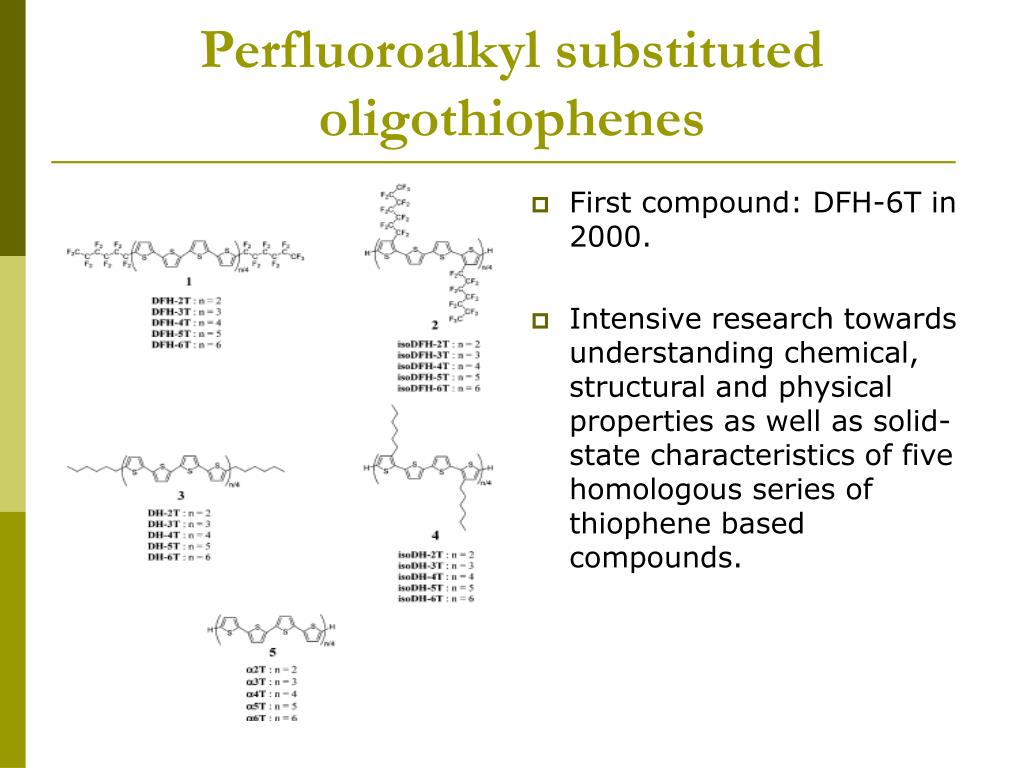 Perfluoroalkyl substituted oligothiophenes
