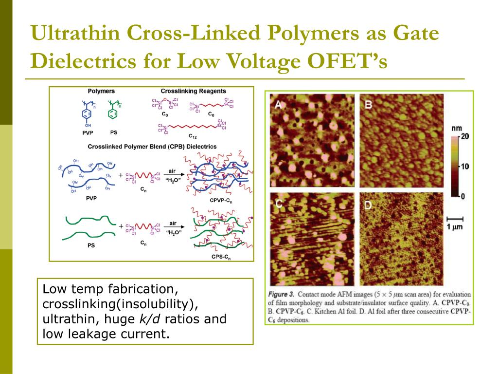 Ultrathin Cross-Linked Polymers as Gate Dielectrics for Low Voltage OFET's