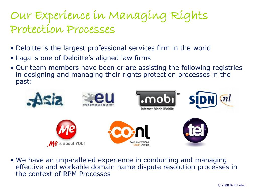 Our Experience in Managing Rights Protection Processes