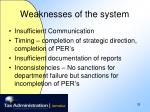 weaknesses of the system33