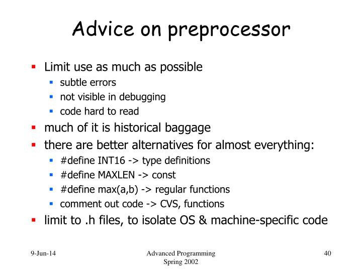 Advice on preprocessor