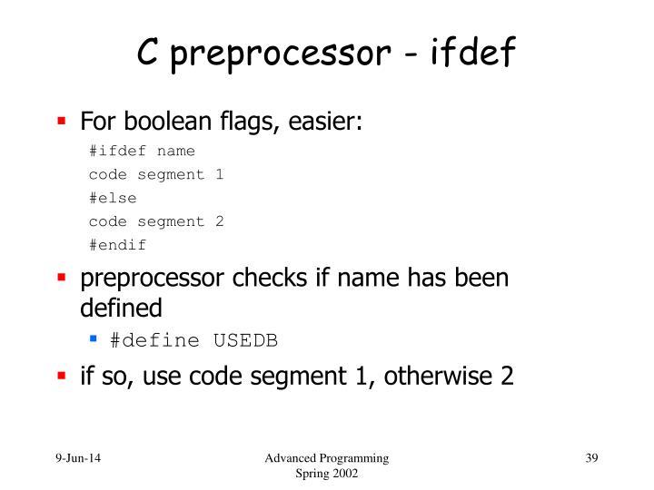 C preprocessor - ifdef