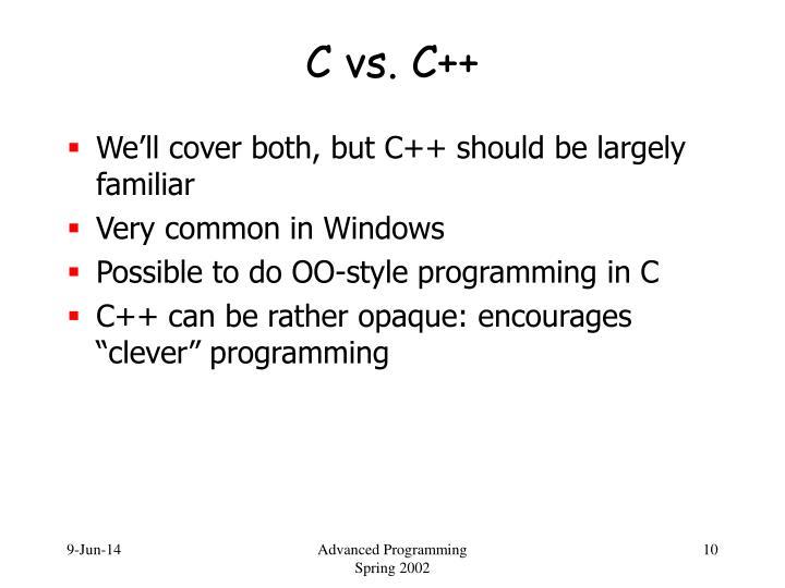 C vs. C++