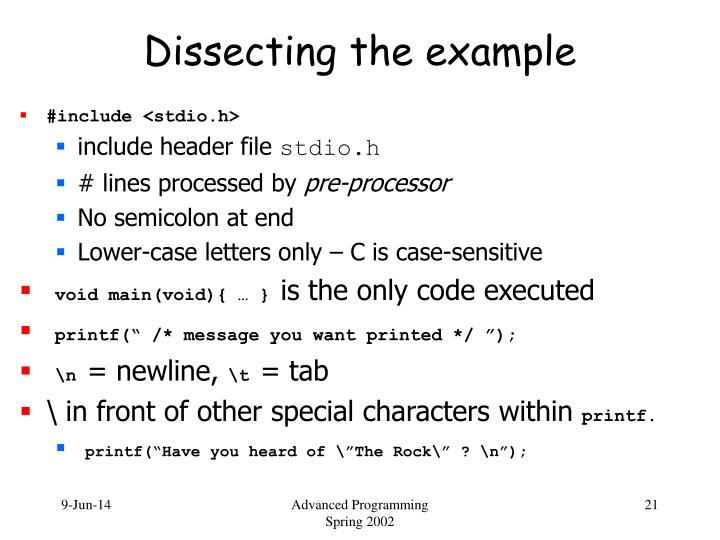 Dissecting the example