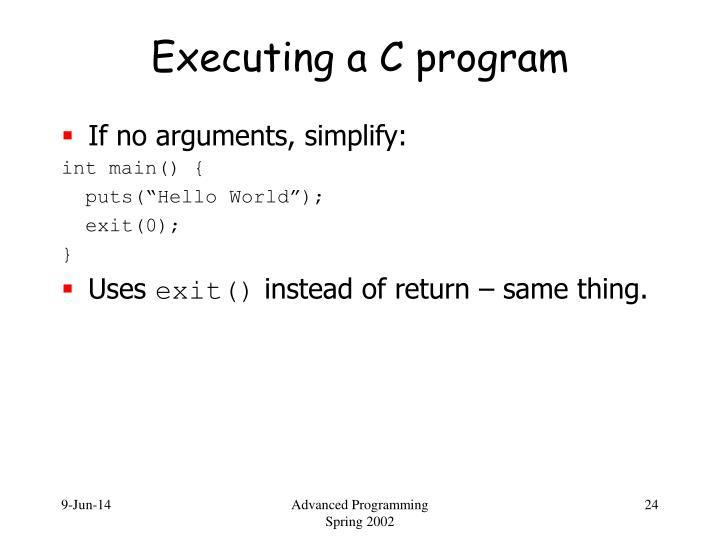 Executing a C program
