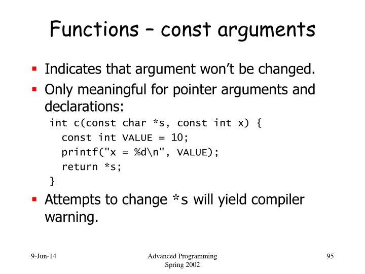 Functions – const arguments
