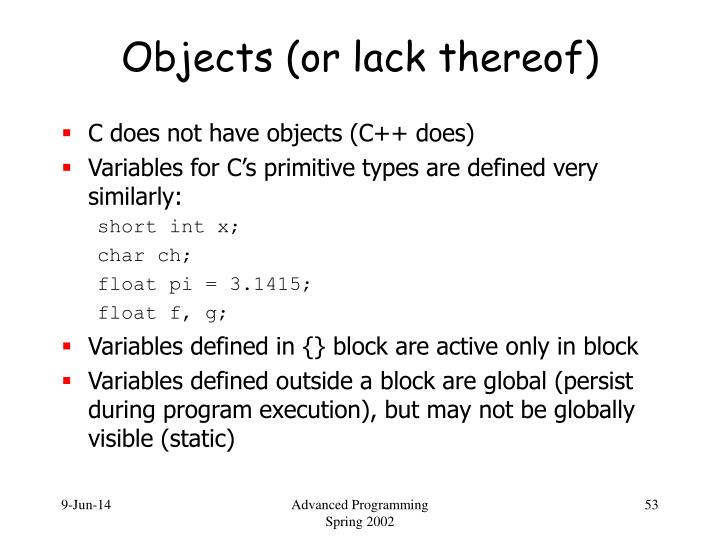 Objects (or lack thereof)