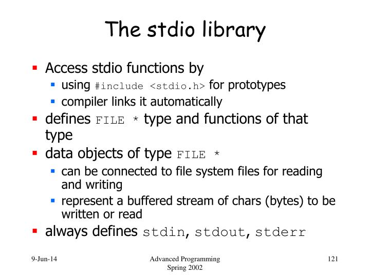 The stdio library