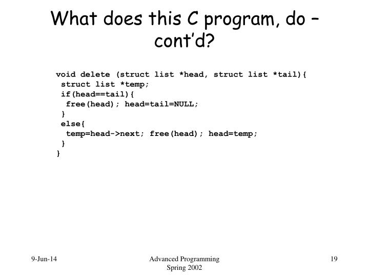 void delete (struct list *head, struct list *tail){