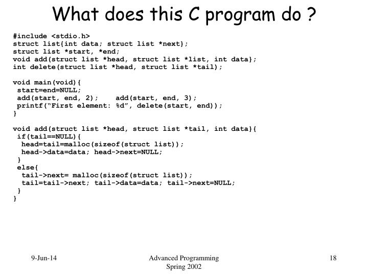 What does this C program do ?